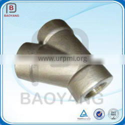 High precision stainless steel y branch pipe fitting