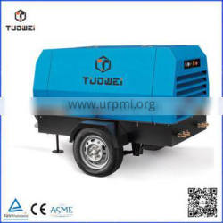 Towable diesel power driven screw rotary portable air cooling air compressor