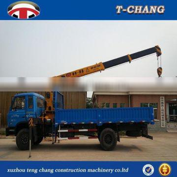china sale 6.3tons mini lifting crane for trucks with telescopic boom ISO9001 certification