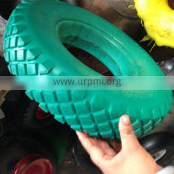 flat free pu foam wheel 4.00-8 green boxes