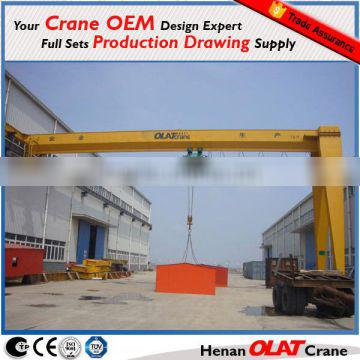 CE GOST Approved Indoor used Single Beam Semi Gantry Crane 5 ton with One Leg