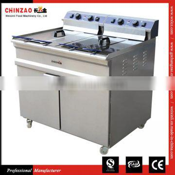 Commercial Kitchen Upright Double Tank Chicken Fryer Machine With Thermostat