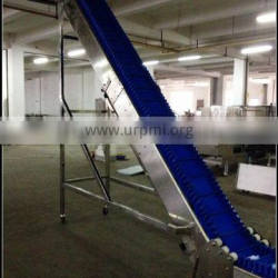 Food grade pvc belt with baffle and side guide conveyor for freezing food