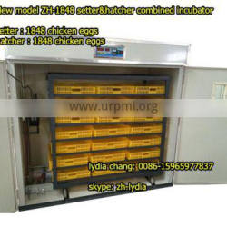 new type 1848 chicken incubator with CE,setter&hatcher combined egg incubator from lydia