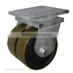 Swivel and fixed caster with polyurethane double wheel iron core