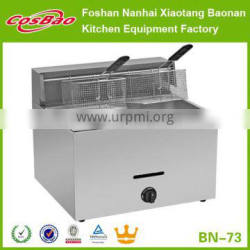 Commercial Counter Top Stainless Steel 1-Tank & 2-Basket Gas Fryer Machine BN-73