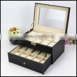 Spot wholesale PU leather transparent skylight double layer drawer 20 watches show sales of storage boes custom