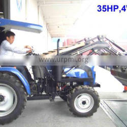 35HP mini orchard tractor with front loader 4in1 bucket and backhoe,4cylinders,8F+2R shift,with Cabin,heater,fan,fork,blade
