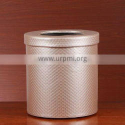 Top grade hotel leather trash bin double layer iron bravery leather household trash can creative office storage bucket