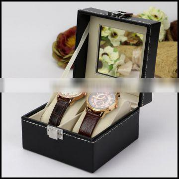 Black leather manufacturers supply high-end jewelry watch window display bo 2 customized watch bo